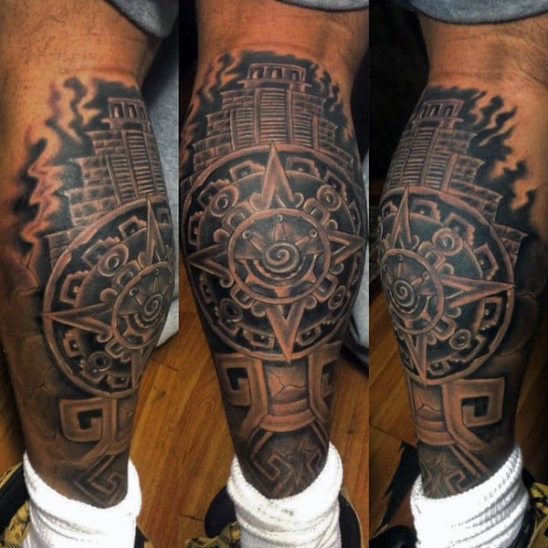 Aztec Leg Sleeve Tattoos For Males