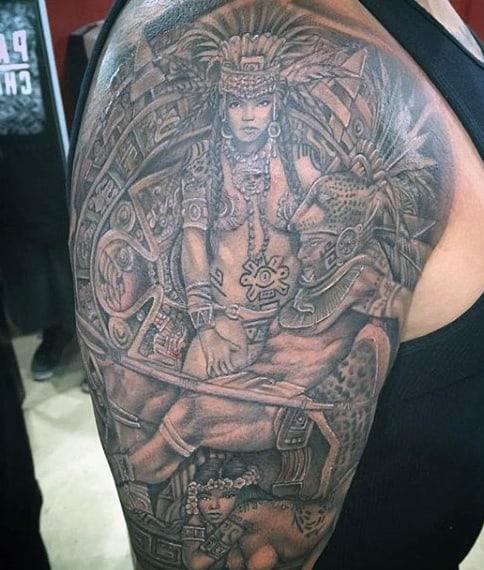 Aztec Men's Arm Sleeve Tattoo