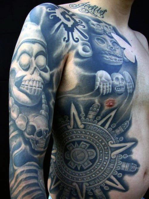 Aztec Mens Chest And Sleeve Badass Tattoos