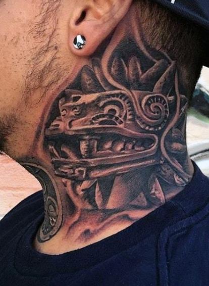 Aztec Neck Tattoo For Men