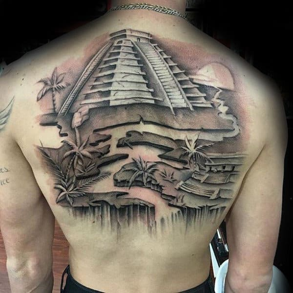Aztec Pyramid Stone Mens Cliff Back Tattoos