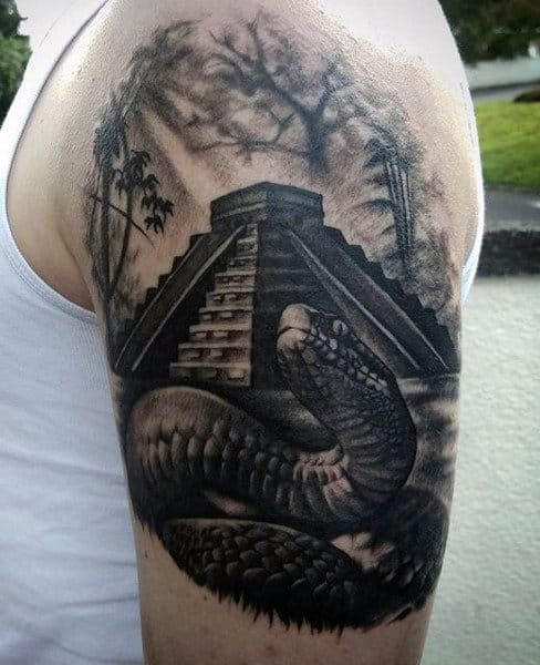 Aztec Pyramid With 3d Snake Mens Quarter Sleeve Tattoo