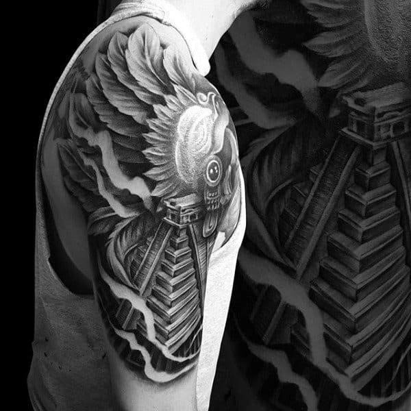 Aztec Pyramid With Feathers Male Half Sleeve Tattoo Inspiration