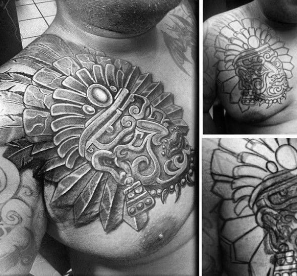 Aztec Shaded Black And Grey Chest Guys Cover Up Tattoos