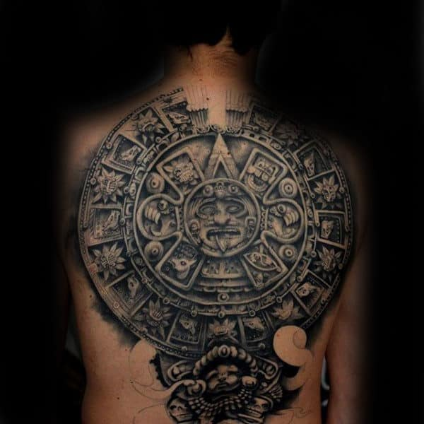 Aztec Stonework Mens Full Back Tattoos