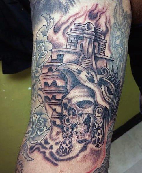 Aztec Tattoo Skull Pyramid For Men