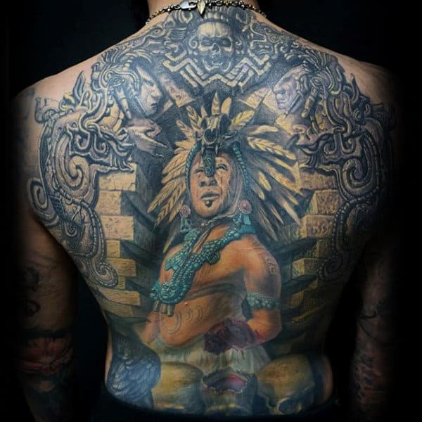 Aztec Warriior Mens 3d Stone Back Tattoo Designs