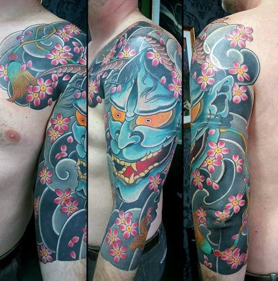 Azure Blue Japanese Sleeve Tattoo For Guys