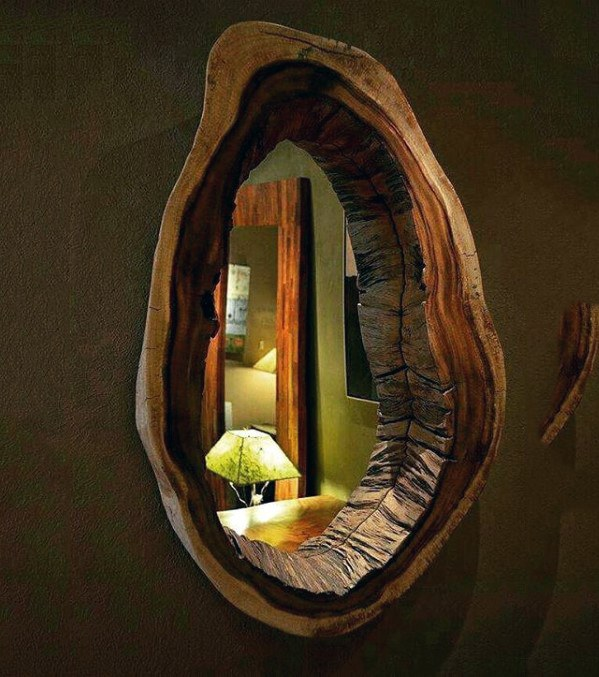 Bachelor Pad Decor Wood Live Edge Mirror Ideas