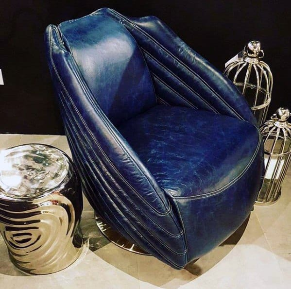 Bachelor Pad Furniture Retro Blue Leather Chair