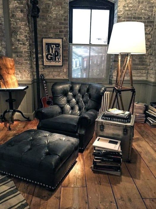 Bachelor Pad Furniture Vintage Brown Leather Chair