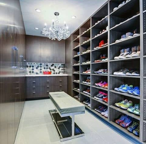 Bachelor Pad Sneaker Closet With Ceiling Chandelier