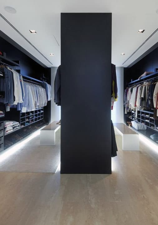 Bachelor Pad Walk In Closet With Floor Lighting