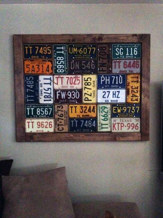 Bachelor Pad Wall Art Framed Vintage License Plates