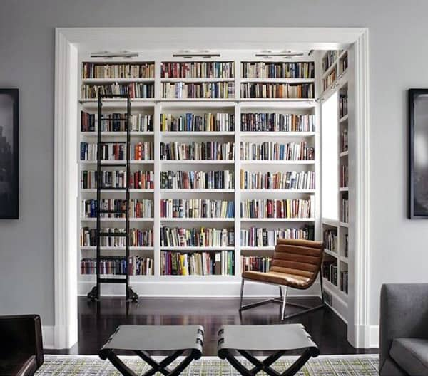 Bachelor Pad With Library Attached To Living Room