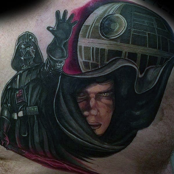 Back 3d Manly Death Star Tattoo Design Ideas For Men