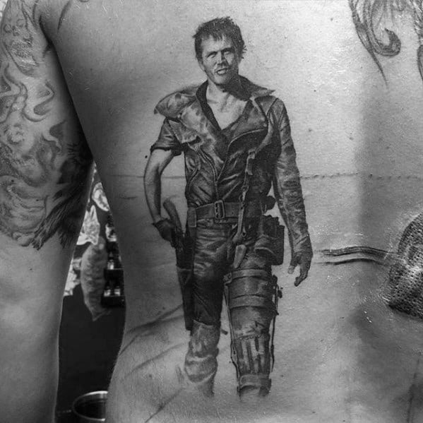 Back 3d Portrait Incredible Mad Max Tattoos For Men