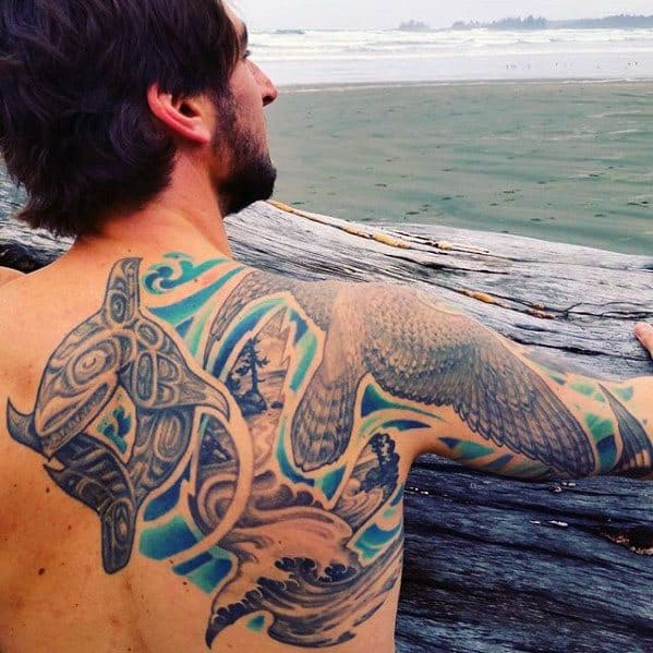 Back And Arm Mens Cool Orca Tattoo Ideas