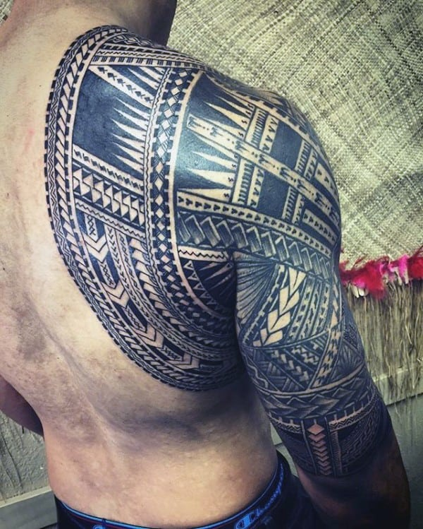 Back And Arm Samoan Sleeve Guys Tribal Tattoos