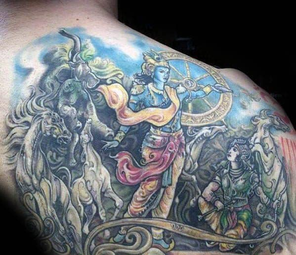 Back And Shoulder Hinduism Krishna Tattoo Design Ideas For Male