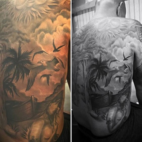 Back Beach Tattoo With Birds For Men