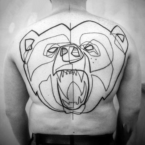 Back Bear Tattoo Line Designs For Men