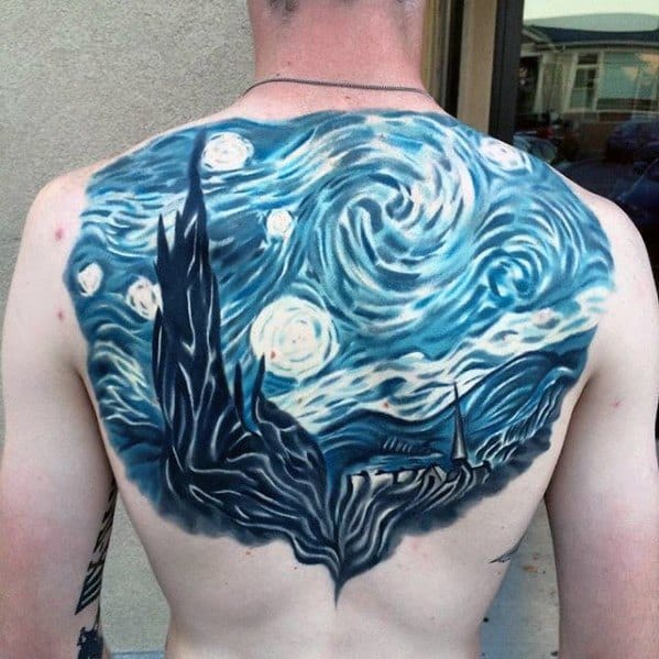 Back Black And Blue Ink Guys Painting Starry Night Tattoos