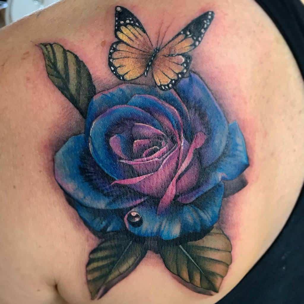 back blue rose tattoos fabiotattz