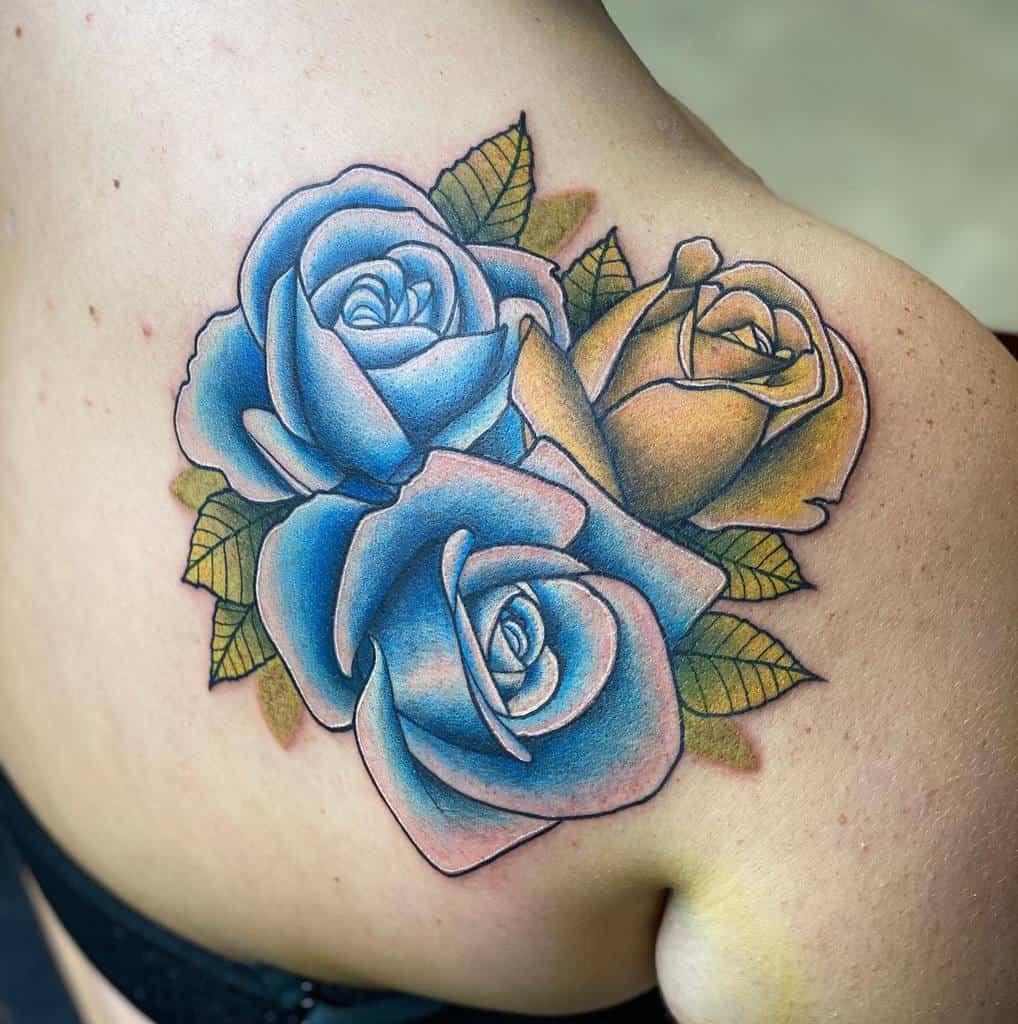 back blue rose tattoos poopsparagus