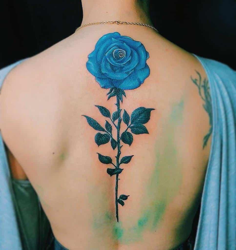 back blue rose tattoos xintattoo_