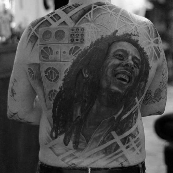 Back Bob Marley Mens Tattoo Designs