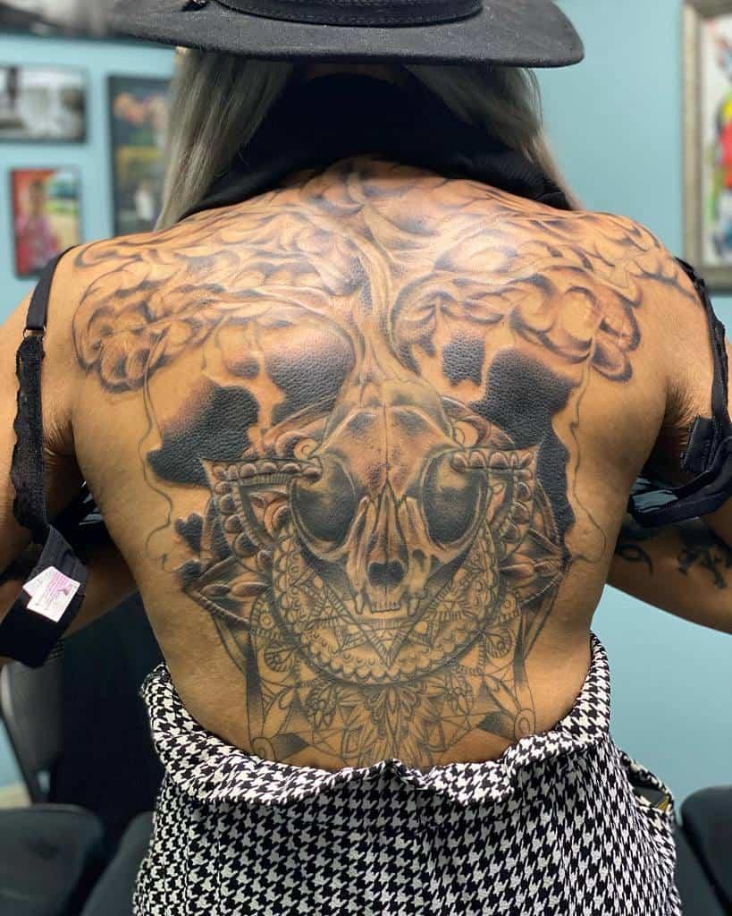 back cat skull tattoo dustymullinaxdesign