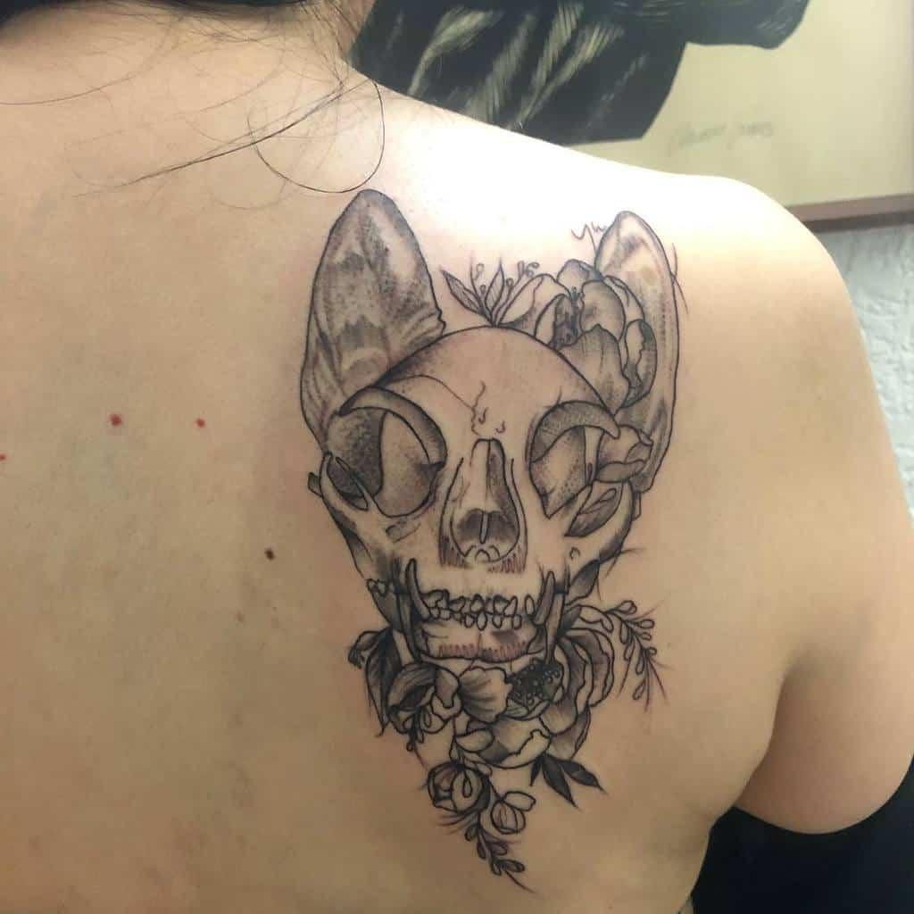 back cat skull tattoo juan_pa_suarez