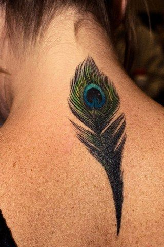 Back Colored Nice Peacock Feather Tattoo