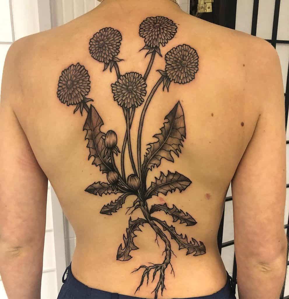 intricate dandelion tattoo on leg