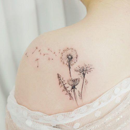 back dandelion tattoo