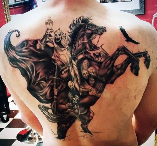 Back Dark And Deep Grim Reaper Men's Tattoos