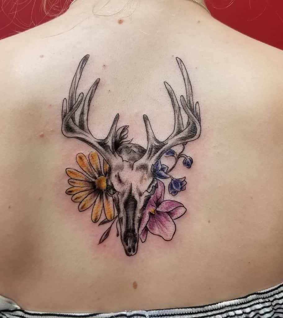 back deer skull tattoo fletchtattoo