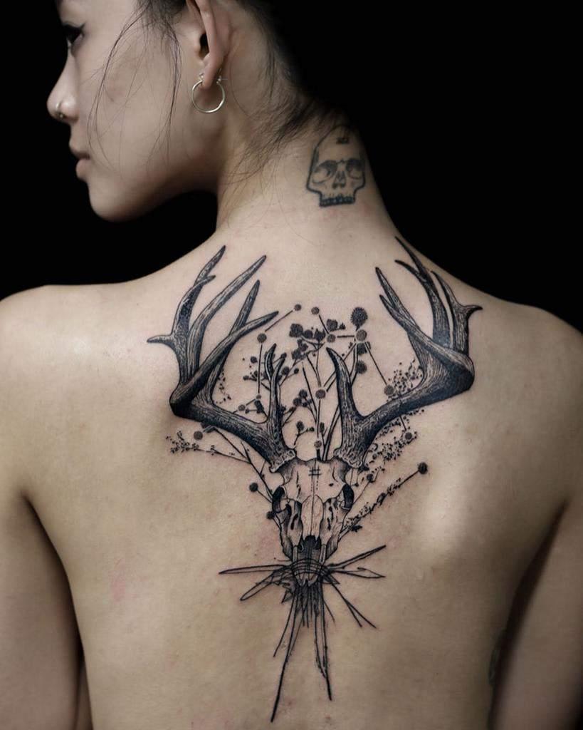 back deer skull tattoo host_tattooer