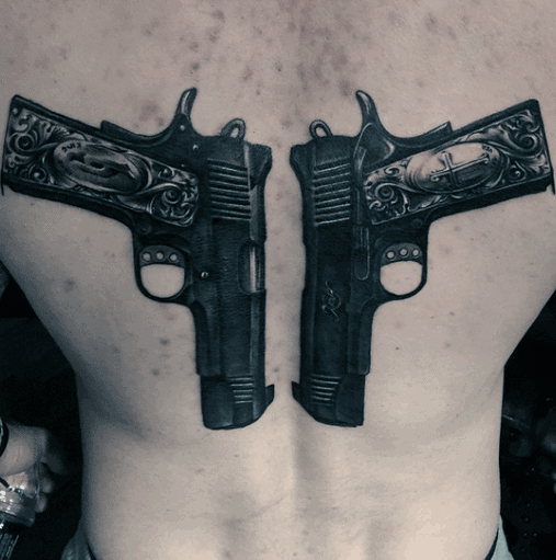 Back Dual Pistols Realistic 1911 Tattoos For Men