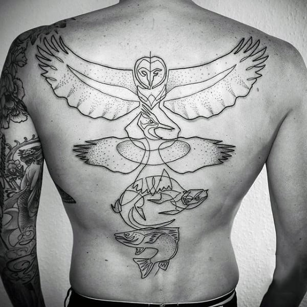 Back Eagle And Fish Line Art Tattoo Designs For Guys