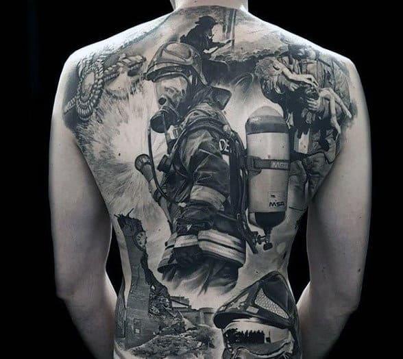 Back Firefighter Maltese Cross Tattoo Men