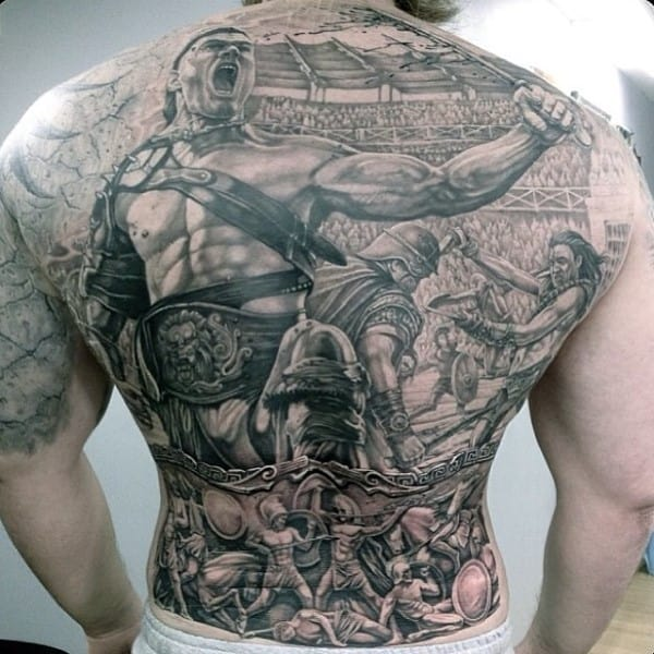 Back Gladiator Tattoo For Men