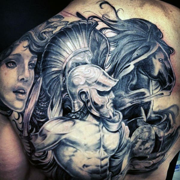 Back Green God Tattoo Ideas On Men