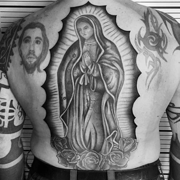 Back Guadalupe Tattoos For Gentlemen