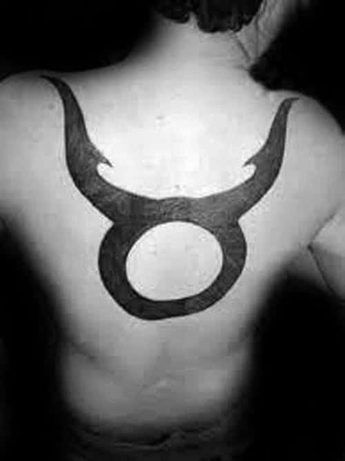 Back Guys Solid Black Ink Taurus Bull Symbol Tattoos