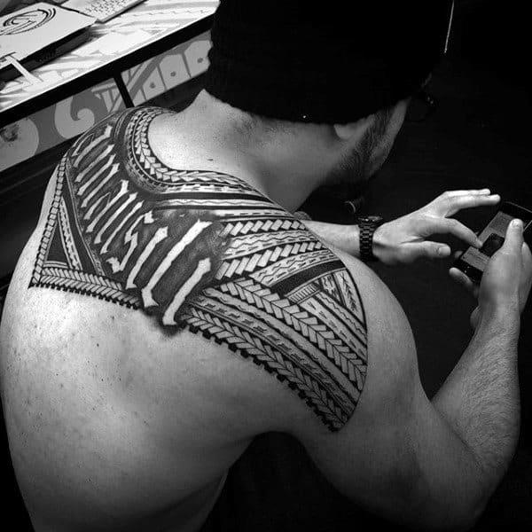 Back Hawaiian Tribal Tattoos For Males