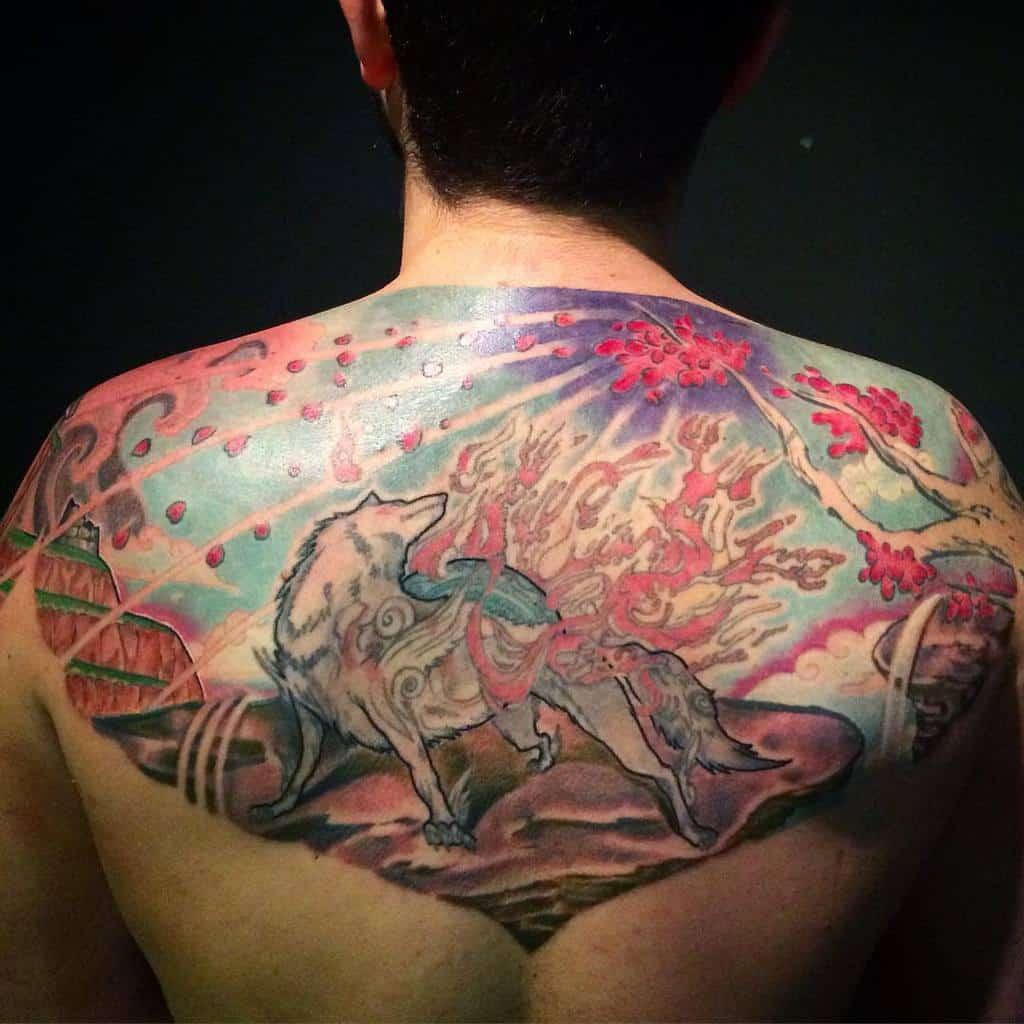 back japanese wolf tattoo camilo_nunes
