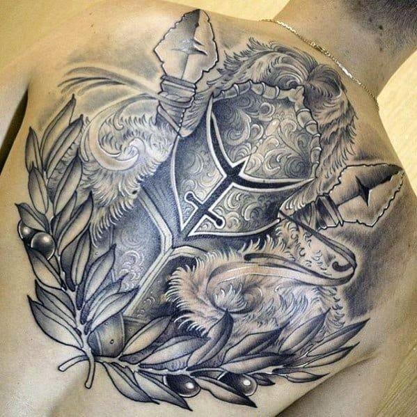 Back Knight Epic Tattoo On Men
