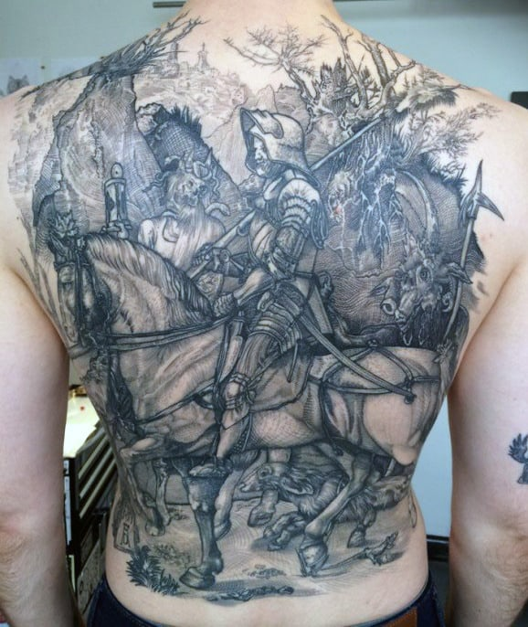 Back Knight Tattoo For Men In Black Ink